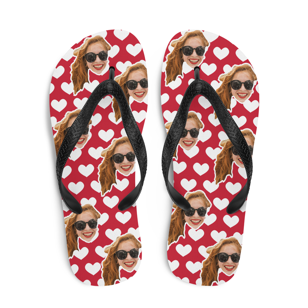 Custom Love Hearts Face Flip Flops