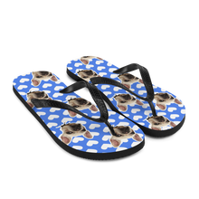 Load image into Gallery viewer, Custom Blue Hearts Face Flip Flops
