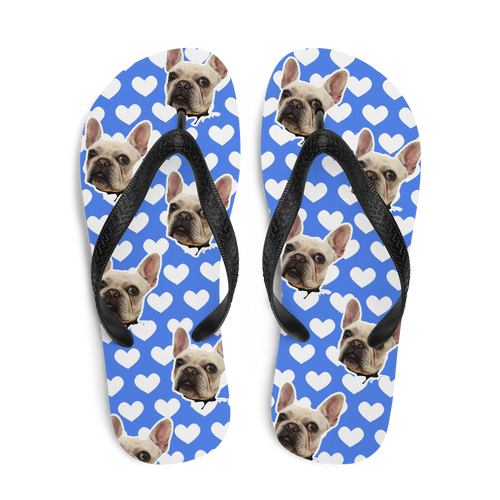Custom Blue Hearts Face Flip Flops