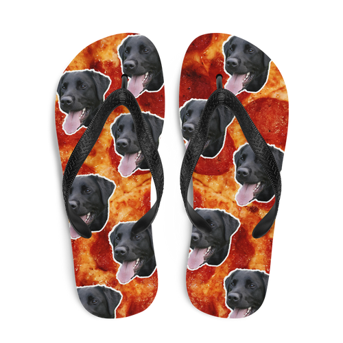Custom Pepperoni Pizza Face Flip Flops
