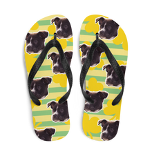 Load image into Gallery viewer, Custom Golden Shamrock Face Flip Flops