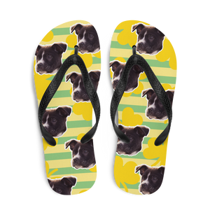 Custom Golden Shamrock Face Flip Flops