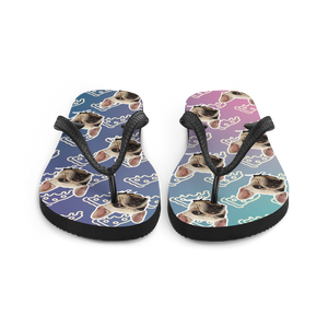 Custom Pizza Party Face Flip Flops