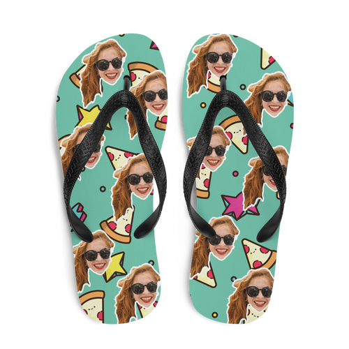 Custom Pizza Stars Face Flip Flops
