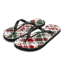 Load image into Gallery viewer, Custom Christmas Plaid Face Flip Flops