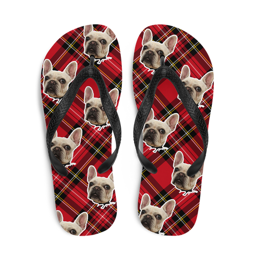 Custom Logger Flannel Plaid Face Flip Flops