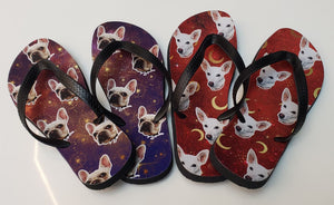 Custom Night Sky Face Flip Flops