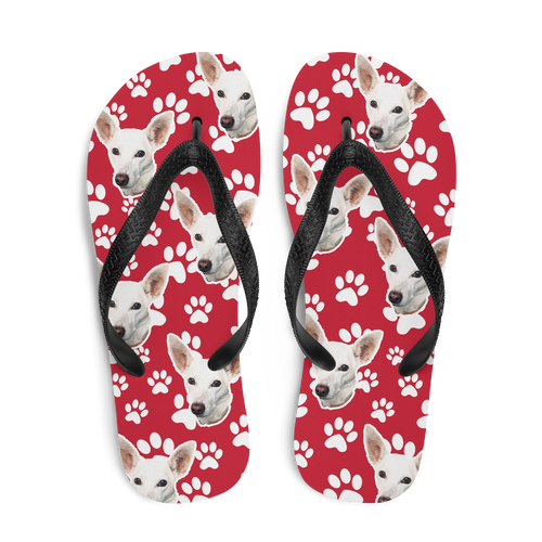 Custom Dog Paw Face Flip Flops