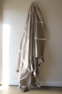 Signature Tides Stripe Moroccan Blanket - Truffle & Oyster - Large Cotton