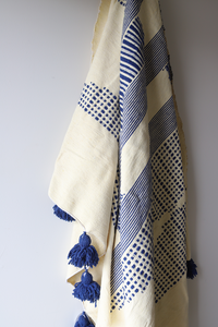 Moroccan Blanket - Oyster & Majorelle Blue Pattern - Large Cotton