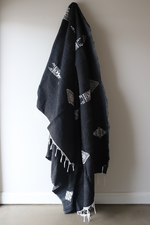 Load image into Gallery viewer, Moroccan Blanket - Midnight & Oyster Essa Collection - Medium Cotton