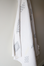 Load image into Gallery viewer, Moroccan Blanket - Oyster & Light Gray Essa Collection - Medium Cotton