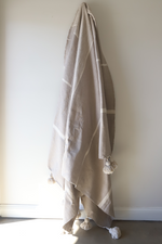 Load image into Gallery viewer, Signature Tides Stripe Moroccan Blanket - Almond & Oyster  - Large Cotton