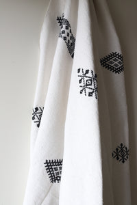 Moroccan Blanket - Oyster & Black Essa Collection - Medium Cotton