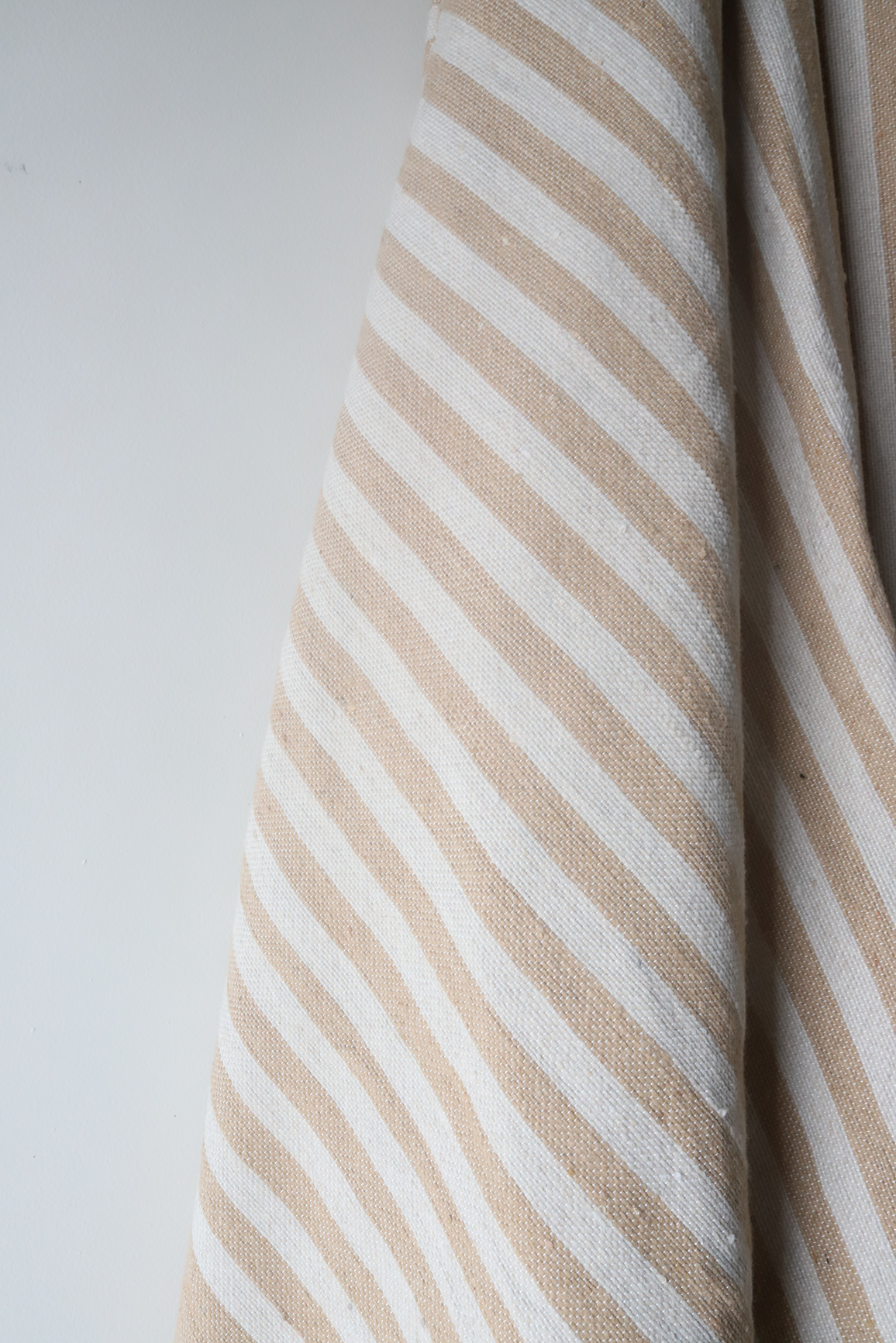 Moroccan Blanket - Camel & Basalt Natural Stripe - Small Cotton