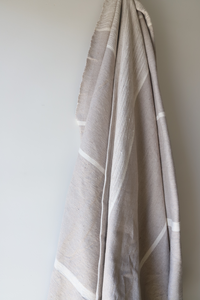 Signature Tides Stripe Moroccan Blanket - Almond & Oyster  - Large Cotton