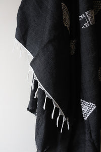 Moroccan Blanket - Midnight & Oyster Essa Collection - Medium Cotton