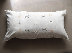 Cactus Silk Pillow Cover - Large Bolster - Oyster - #10115