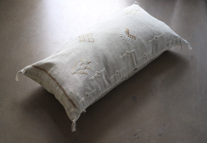 Cactus Silk Pillow Cover - Large Bolster - Oyster - #10105