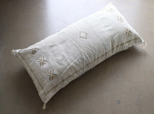 Cactus Silk Pillow Cover - Large Bolster - Oyster - #10107