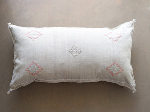 Cactus Silk Pillow Cover - Large Bolster - Oyster - #10112