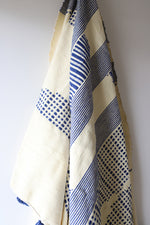Load image into Gallery viewer, Moroccan Blanket - Oyster & Majorelle Blue Pattern - Large Cotton