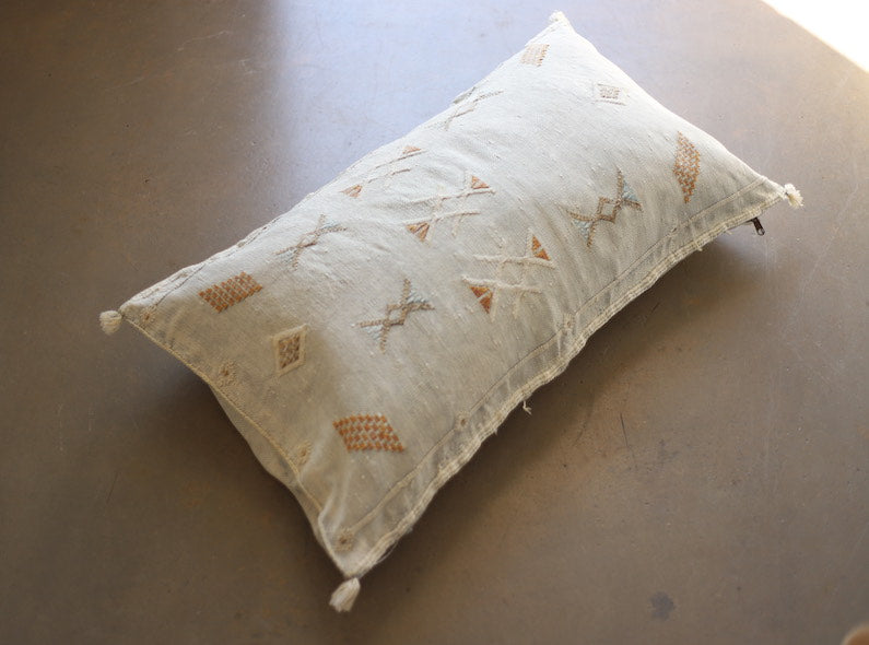 Cactus Silk Pillow Cover - Large Bolster - Oyster - #10103
