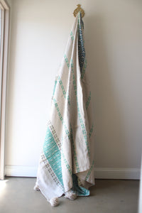 Moroccan Blanket - Large Pattern - Lime & Aqua