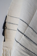 Load image into Gallery viewer, Moroccan Blanket - Medium #2 - Sailcloth & Black Stripe