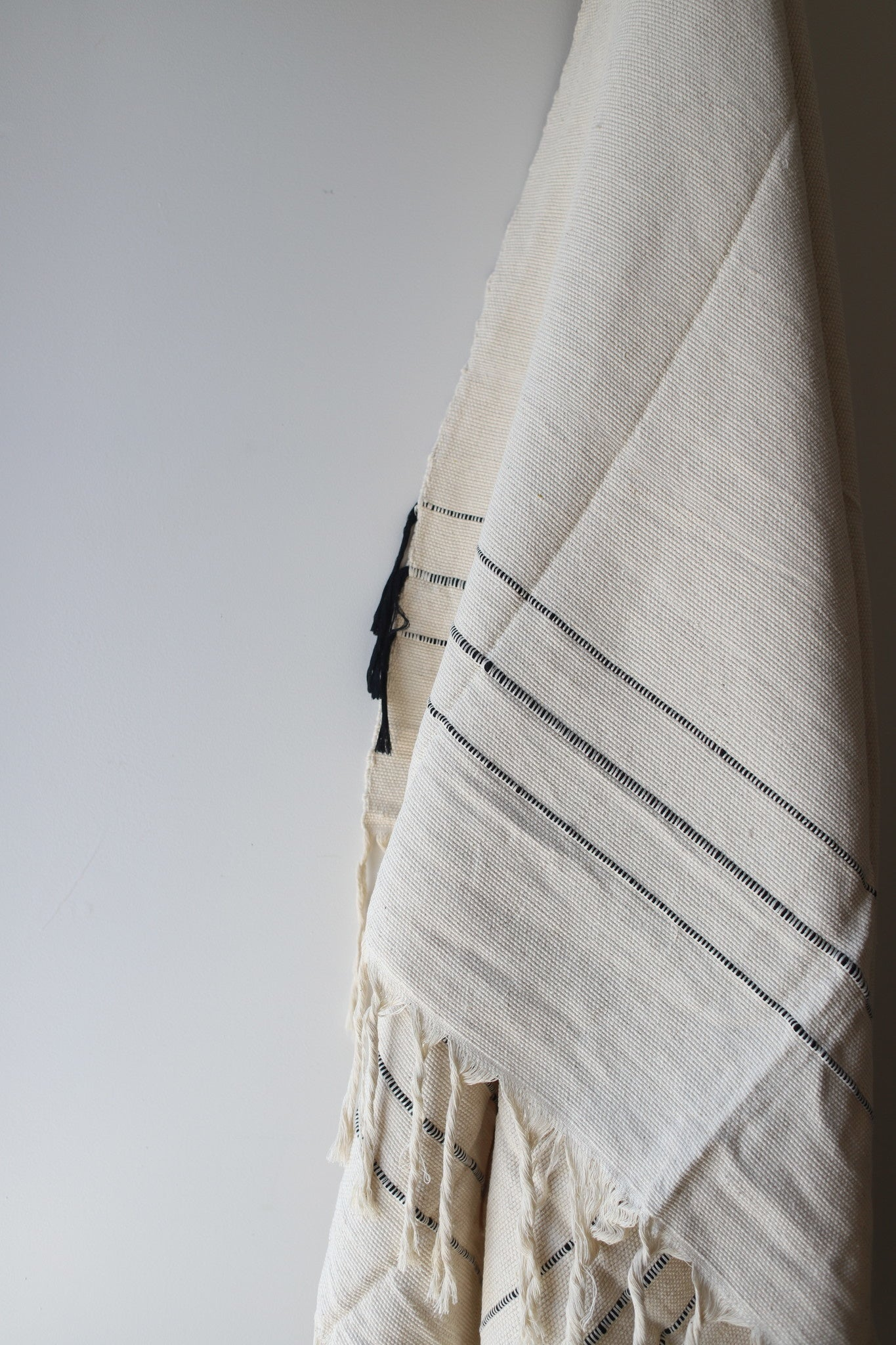 Moroccan Blanket - Medium #2 - Sailcloth & Black Stripe