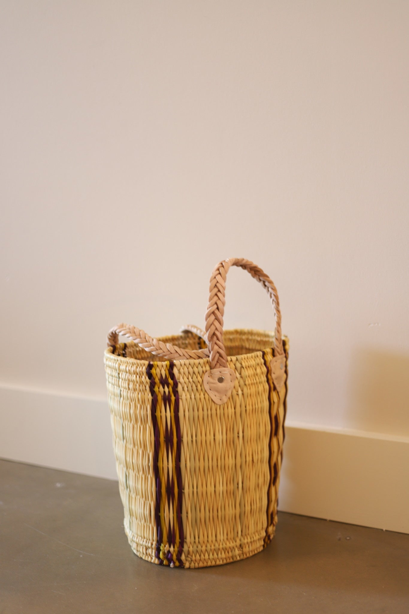 Palm Round Basket Stripe #1- Medium