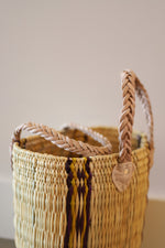 Load image into Gallery viewer, Palm Round Basket Stripe #1- Medium