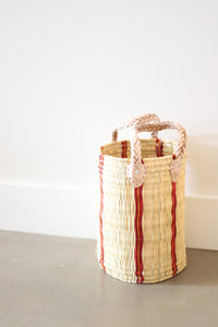 Palm Round Basket Stripe #3- Medium