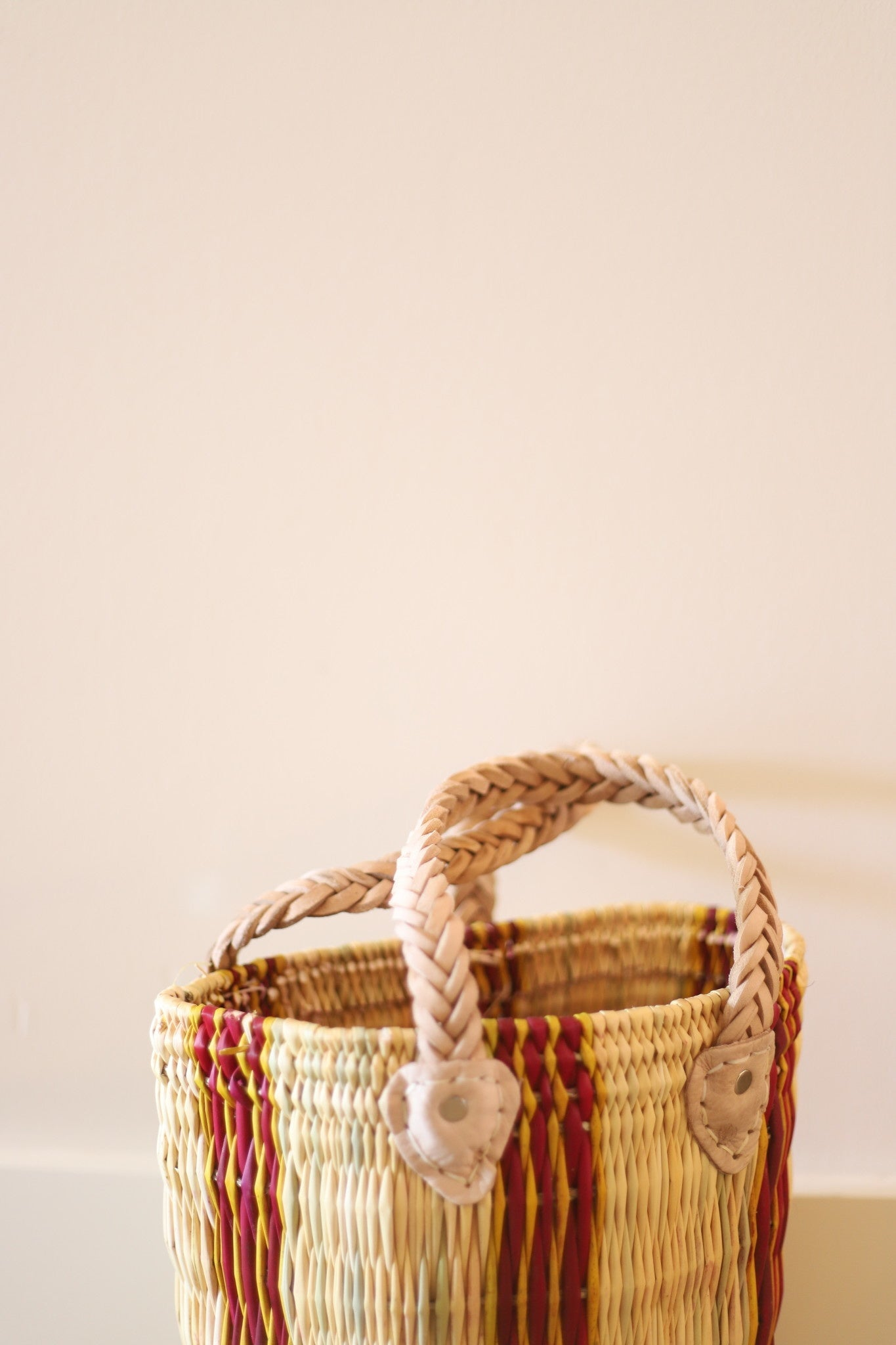 Palm Round Basket Stripe #4- Medium