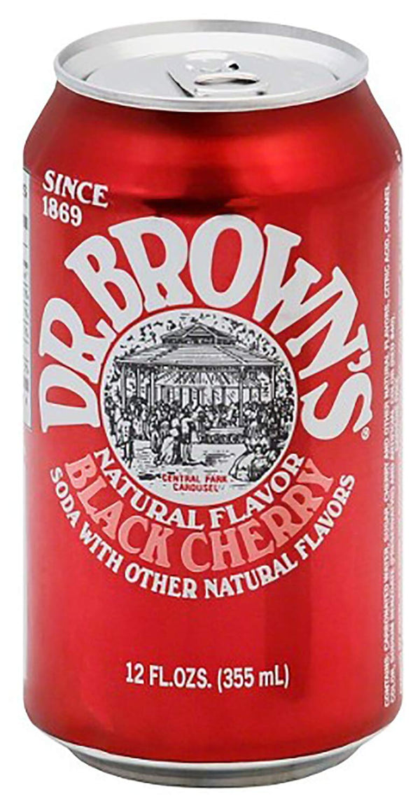 Dr. Brown's Black Cherry 12 oz Can Pack of 24