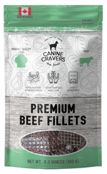 Canine Cravers Premium Beef Fillets Single Ingredient Dog Treats 5.3 oz pouch