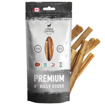 "Canine Cravers Single Ingredient Premium Beef 6"" Inch Bully Stick Pack of 10"