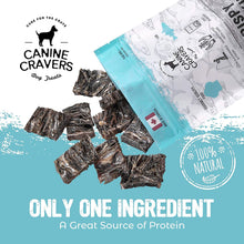 Load image into Gallery viewer, Canine Cravers Crispy Cod Skins Single Ingredient Dog Treats 4 oz pouch