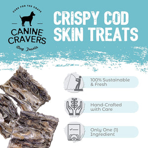 Canine Cravers Crispy Cod Skins Single Ingredient Dog Treats 4 oz pouch