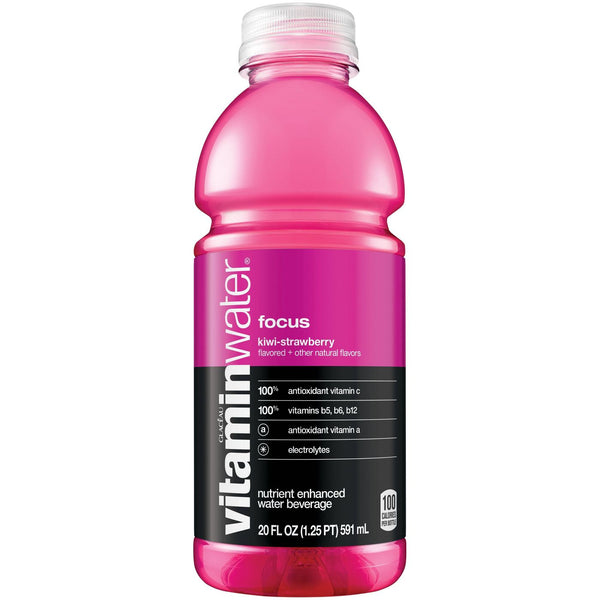 Vitamin Water Focus Kiwi-Strawberry 20 oz PET Pack of 12
