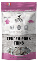 Load image into Gallery viewer, Canine Cravers Tender Pork Thins Single Ingredient Dog Treats 5.3 oz pouch