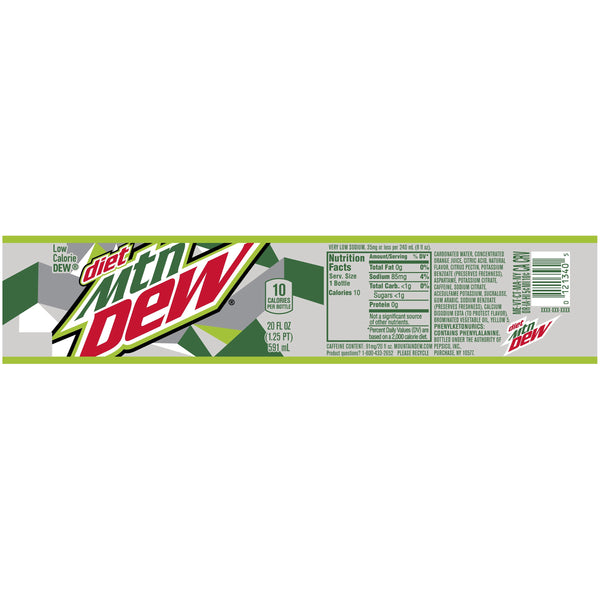 Diet Mountain Dew 20 oz PET - Pack of 24