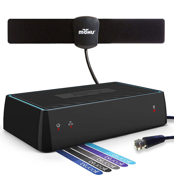 Sling AirTV Dual-Tuner Local Channel Streamer for TVs and Mobile Devices with DVR Capablities and Works w/Sling TV Bundle with Mohu 25 Mile HDTV Antenna and 5X Cable Ties