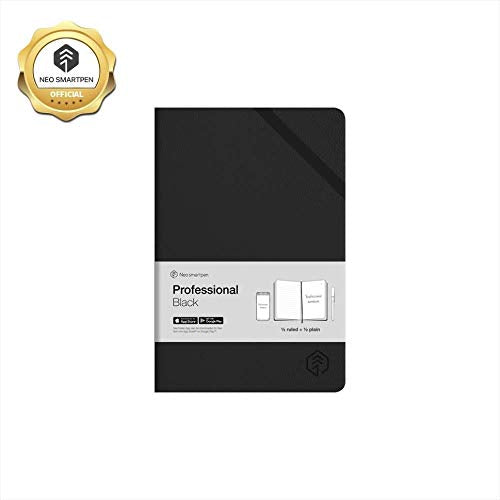Black Hardcover Professional Notebook for use with Neo smartpen M1 N2 Ruled and Blank lines 250 pages (Black)