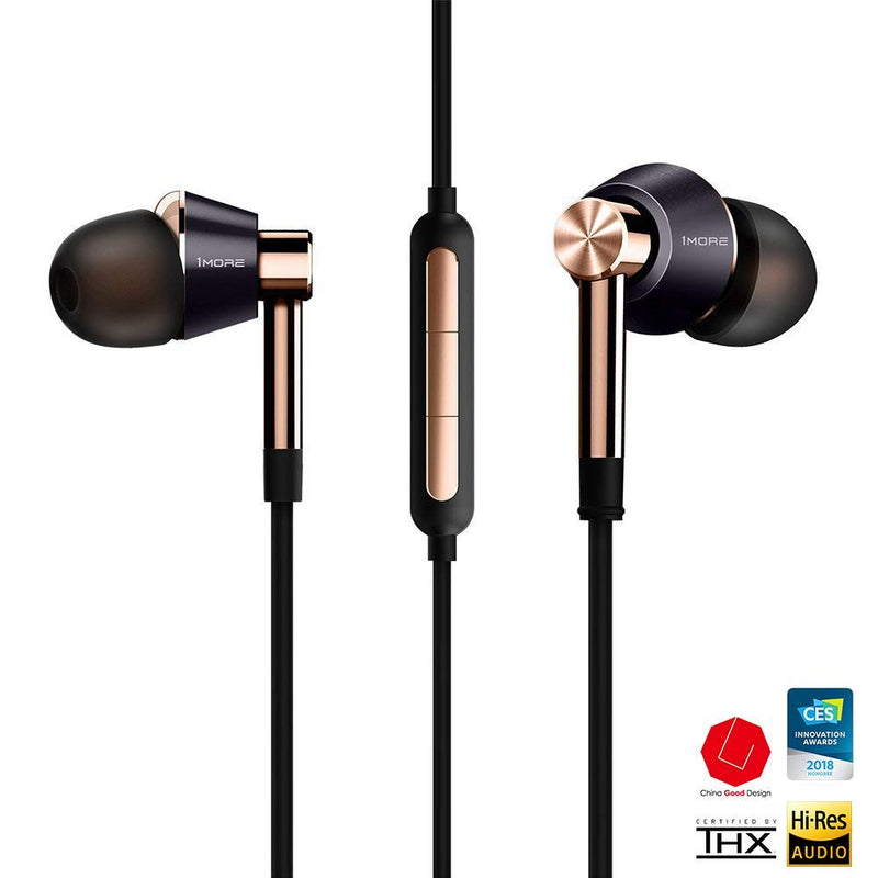 1MORE E1001 Triple Driver In-Ear Headphones + Blucoil 6' 3.5mm Extension Cable + Earbud Case
