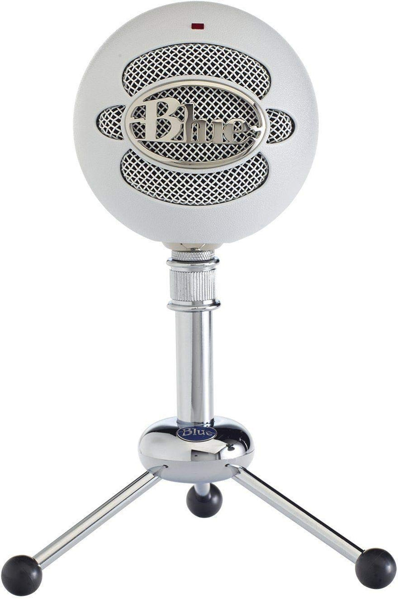 Blue Microphones Snowball USB Condenser Microphone (Textured White) Bundle with Metal Mic Stand, USB Cable, and Blucoil Pop Filter Windscreen