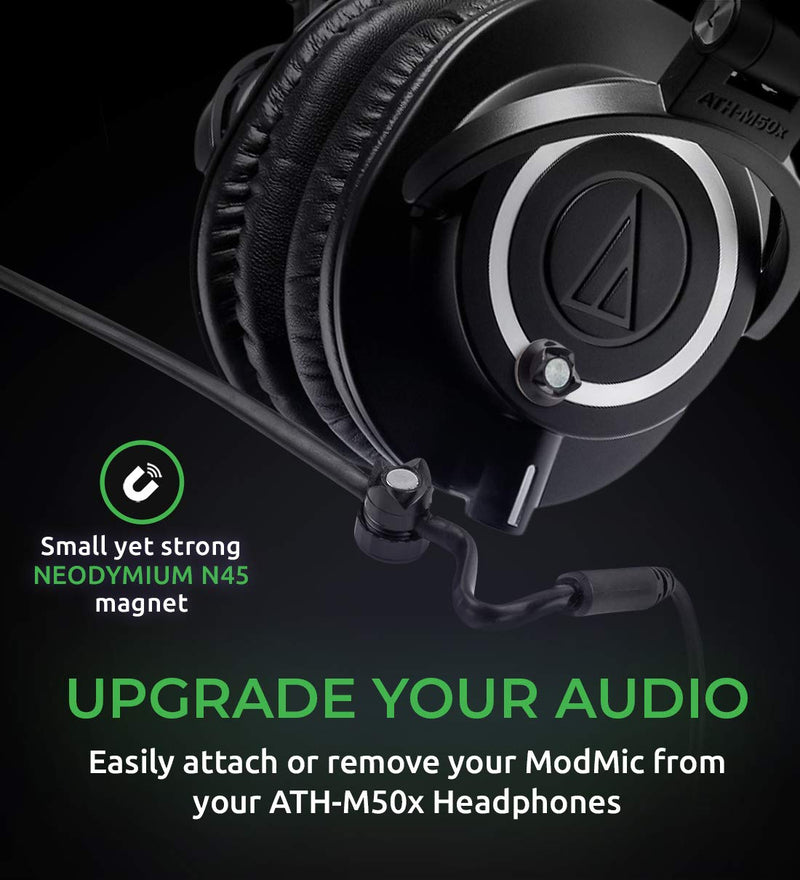 Audio-Technica ATH-M50x Headphones + Antlion Audio ModMic 5 + Blucoil Y Splitter for Audio, Mic