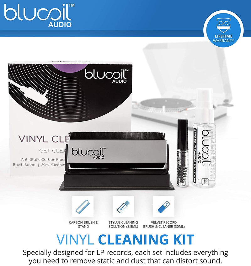 Audio Technica AT-LP60WH-BT Bluetooth Automatic Belt-Drive Turntable + Blucoil 2-in-1 Vinyl Cleaning Kit
