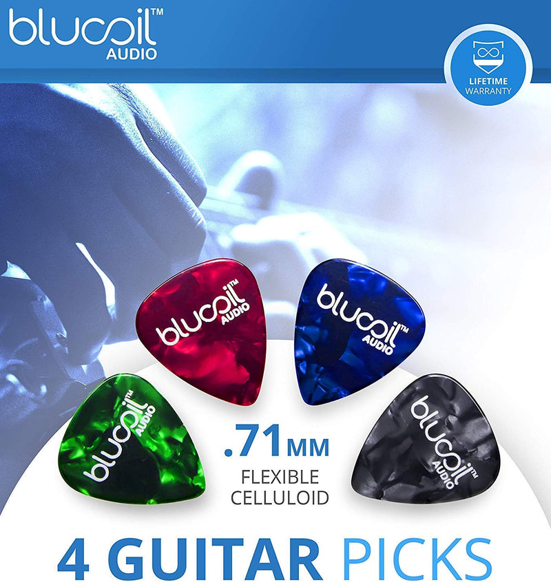 Peterson StroboPLUS HD Tuner Bundle with 3.7V Rechargeable Li-Ion Battery, Micro USB Cable, Blucoil 2-Pack of 10-FT Mono Instrument Cables, and 4-Pack of Celluloid Guitar Picks