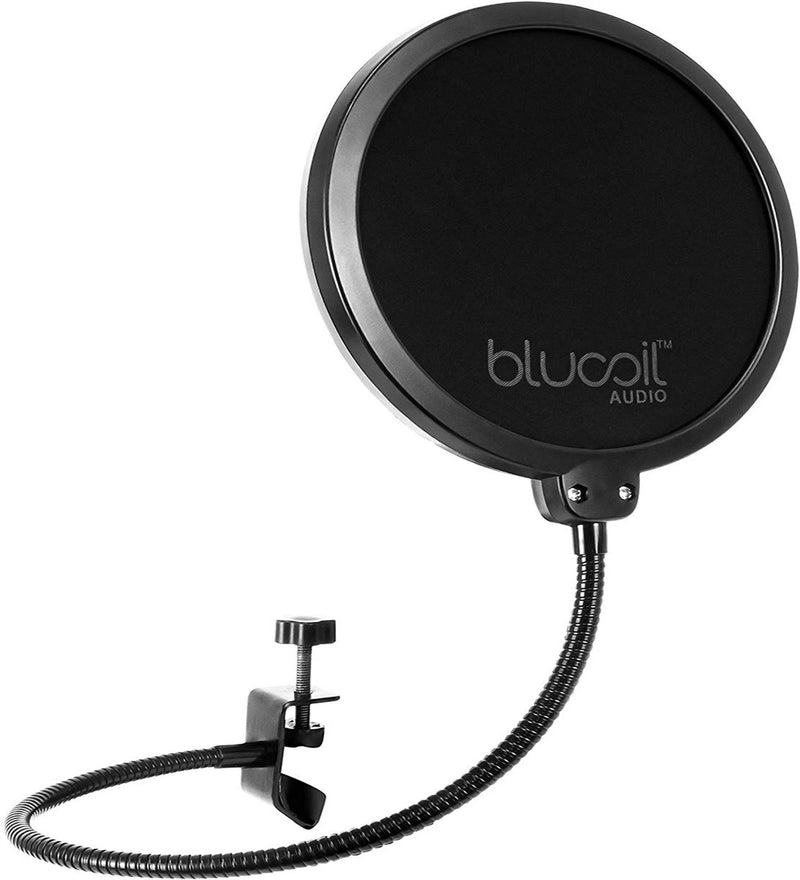Blucoil Pop Filter Windscreen with Stand Clip Stabilization Arm and Mic Swivel Mount for Blue Snowball and Yeti, Audio Technica, Neewer, Rode, Samson, Sennheiser, and Shure Microphones